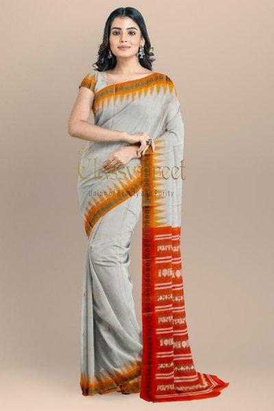 Gray and red Gopalpur tussar silk saree