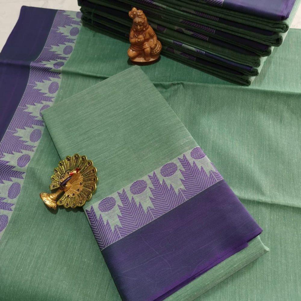 Green Kerala Cotton Saree