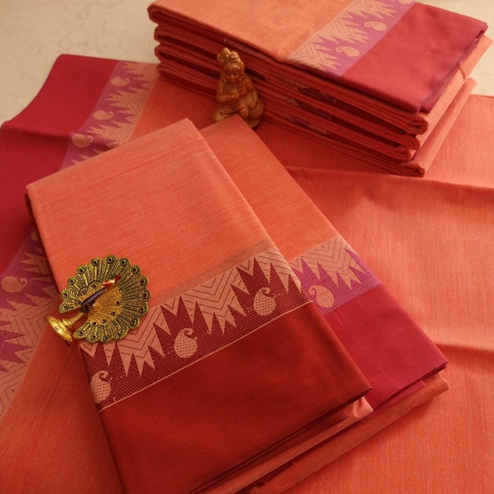 Red Kerala Cotton Saree