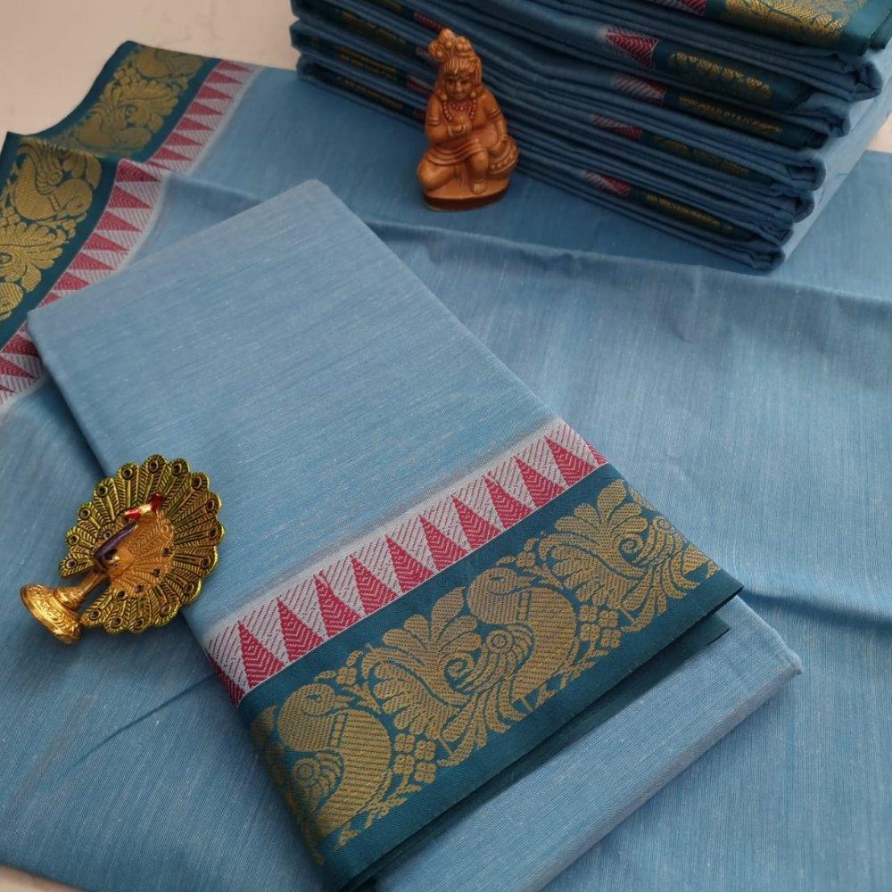 Blue  Kerala Cotton Saree