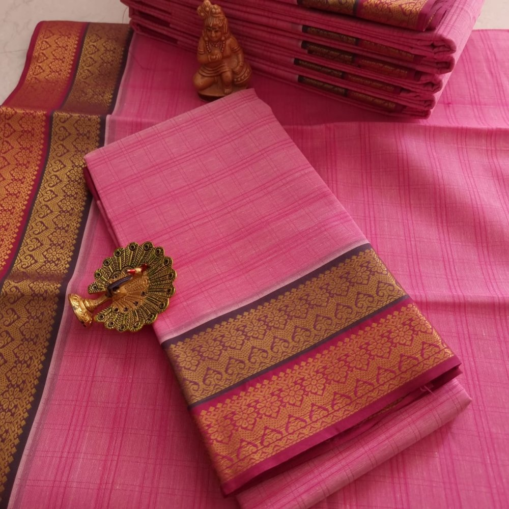 Pink Kerala Cotton Saree