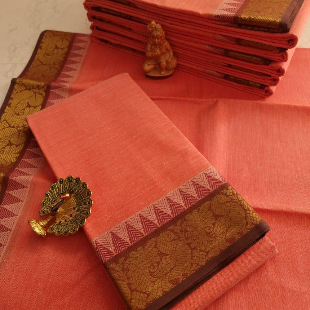 Orange Kerala Cotton Saree