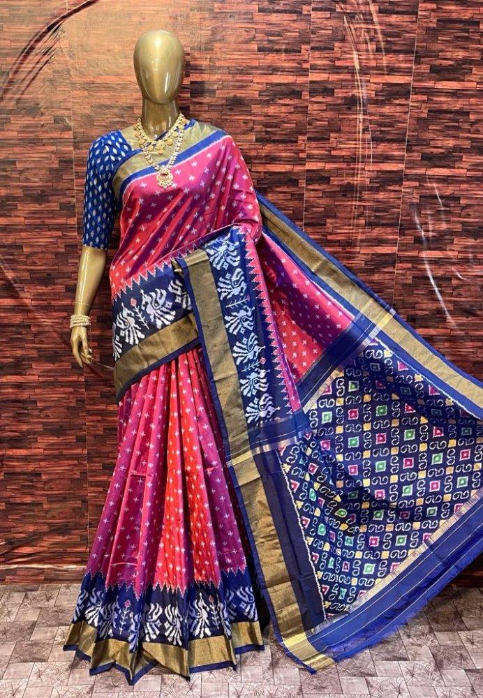 Purple-Blue Pochampally Saree
