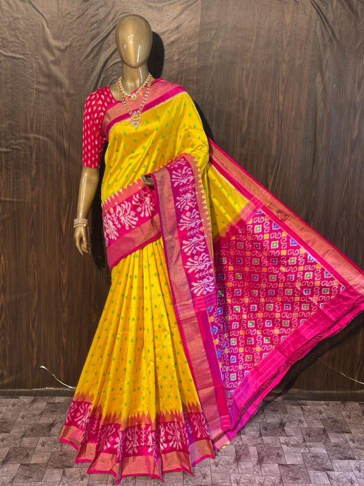 Yellow-Pink Pochampally Saree