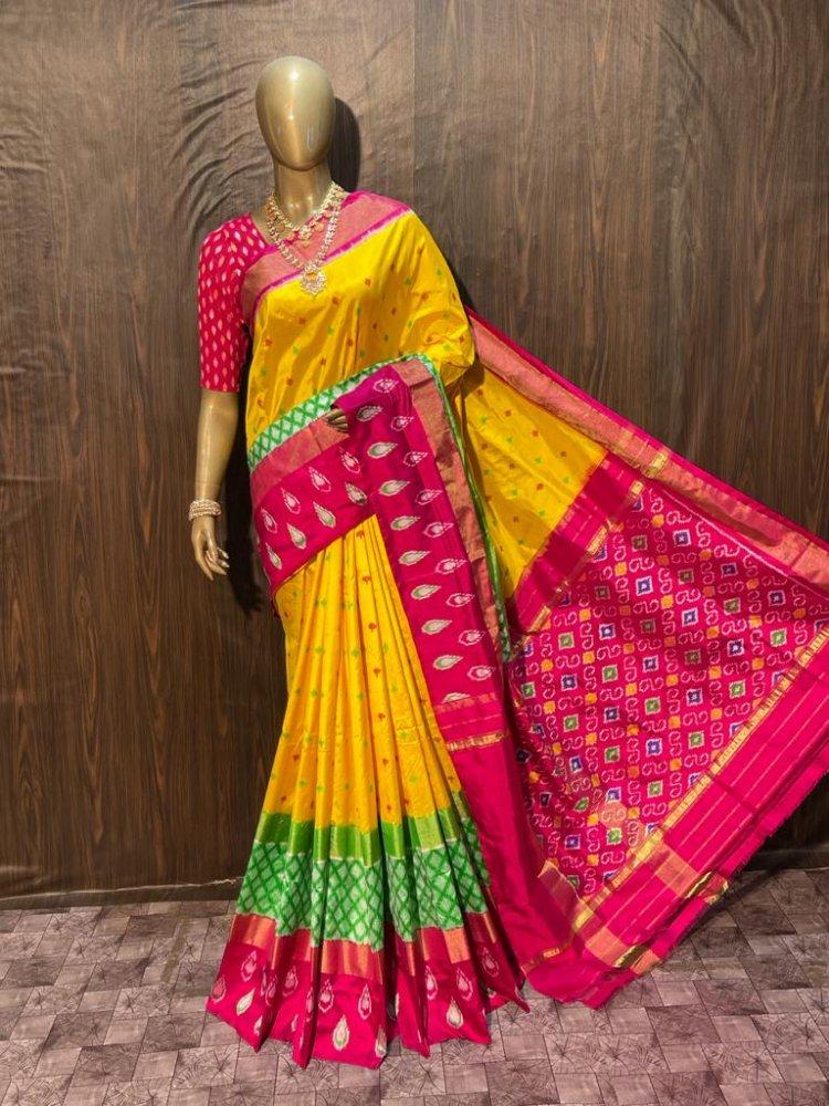 Pink-Yellow Pochampally Saree