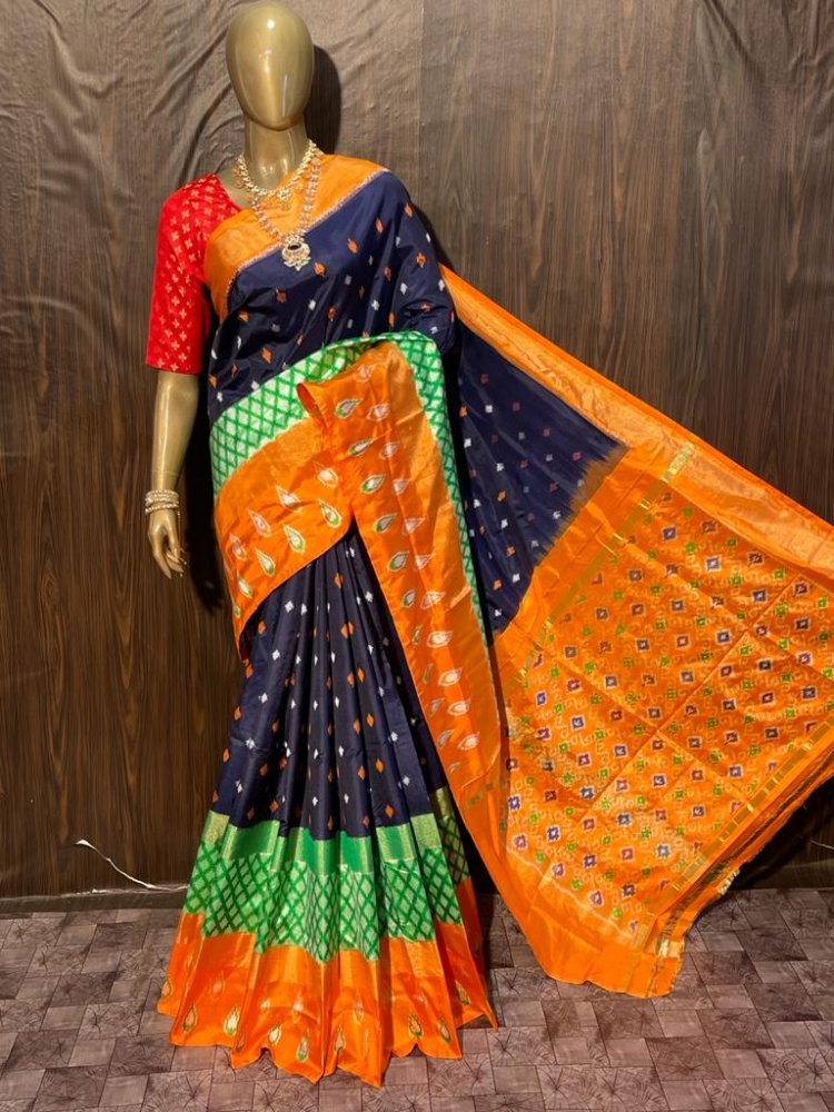 Dark Blue-Orange Pochampally Saree