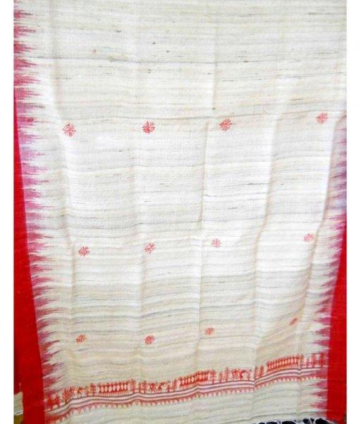 White & Red Tussar Silk Stole