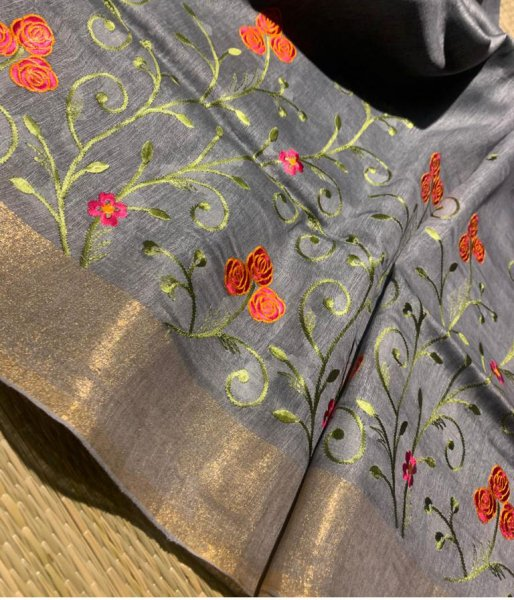 Gray linen embroidery saree with running blouse piece