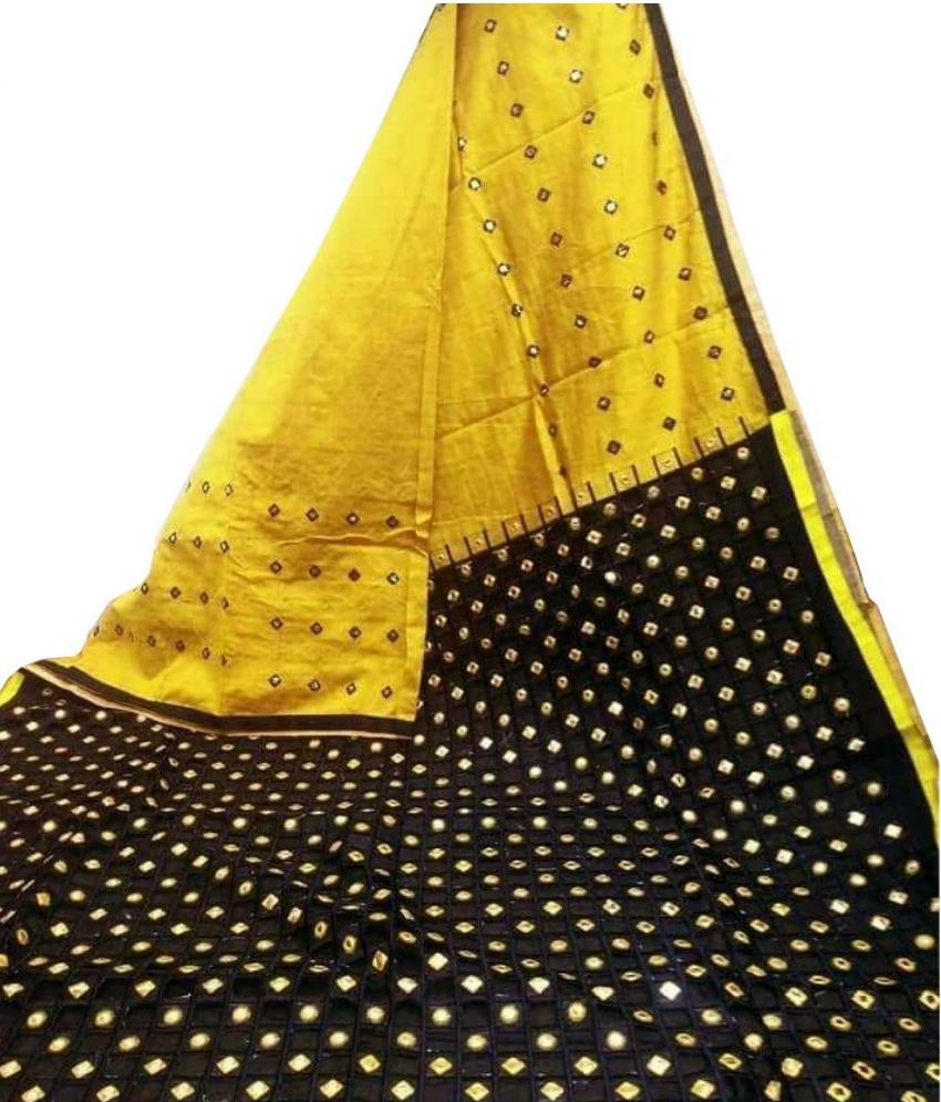 Yellow & Black Cotton Silk Cut Work Saree