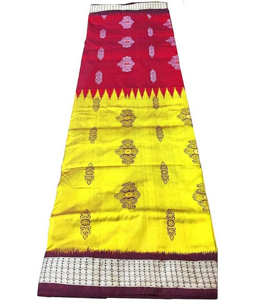 Yellow & Red Sambalpuri Saree