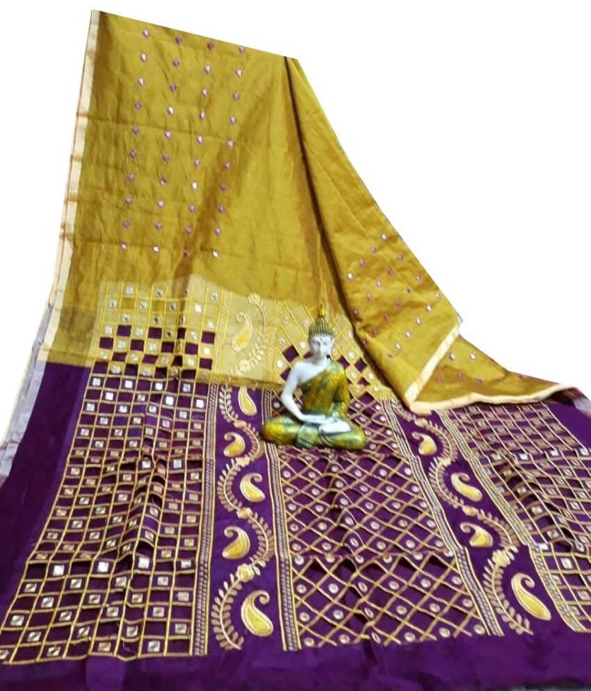 Yellow & Violet Cotton Silk Cut Work Saree
