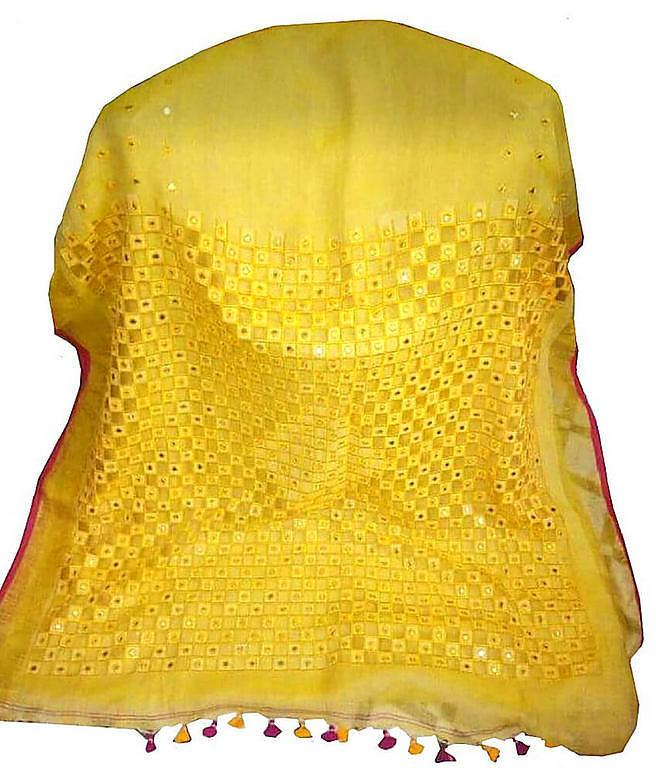 Yellow Linen Cut Work Saree
