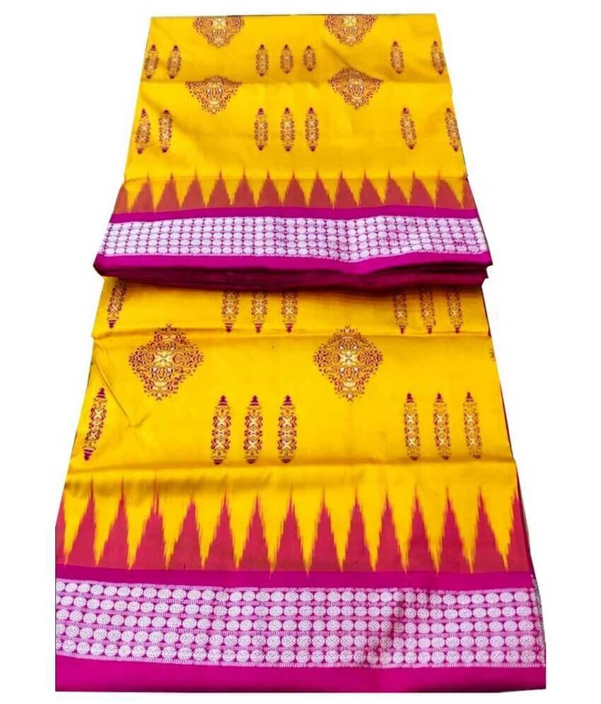 Yellow Sambalpuri Bomkai Saree