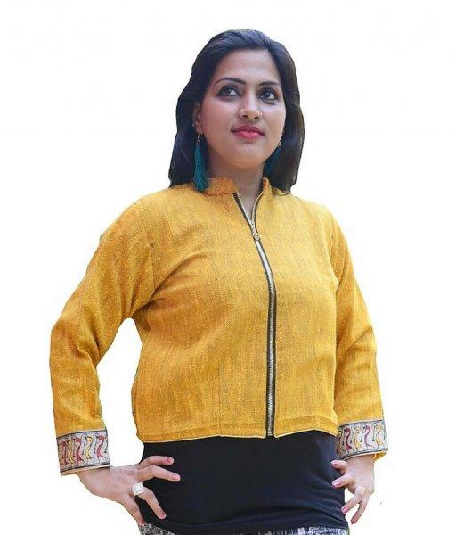Yellow Soura Hand Painted Waistcoat