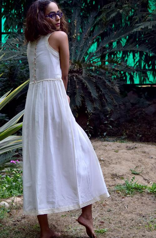 Marisa White Cotton Chanderi Dress