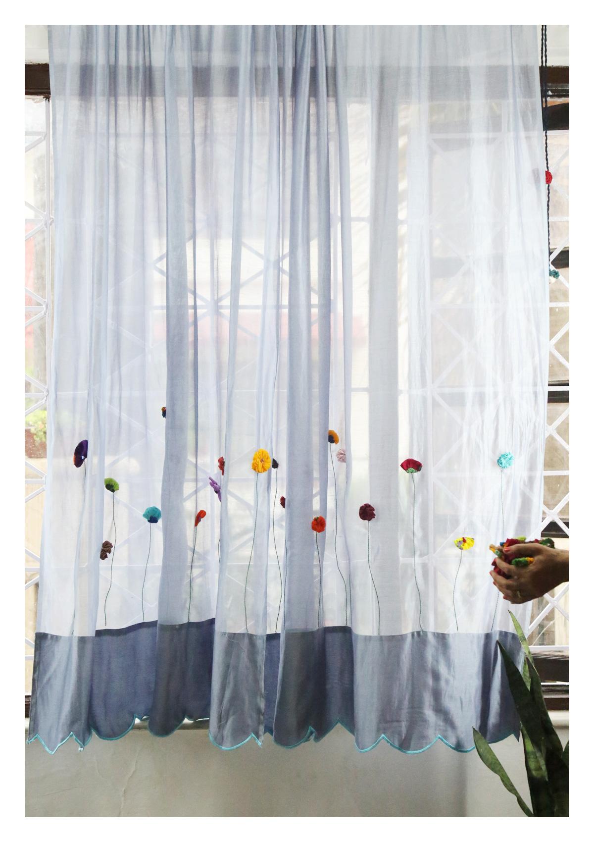 Pushya Grey Sheer Curtain
