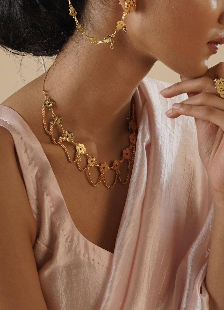 Fatima Gold Tone Silver Necklace
