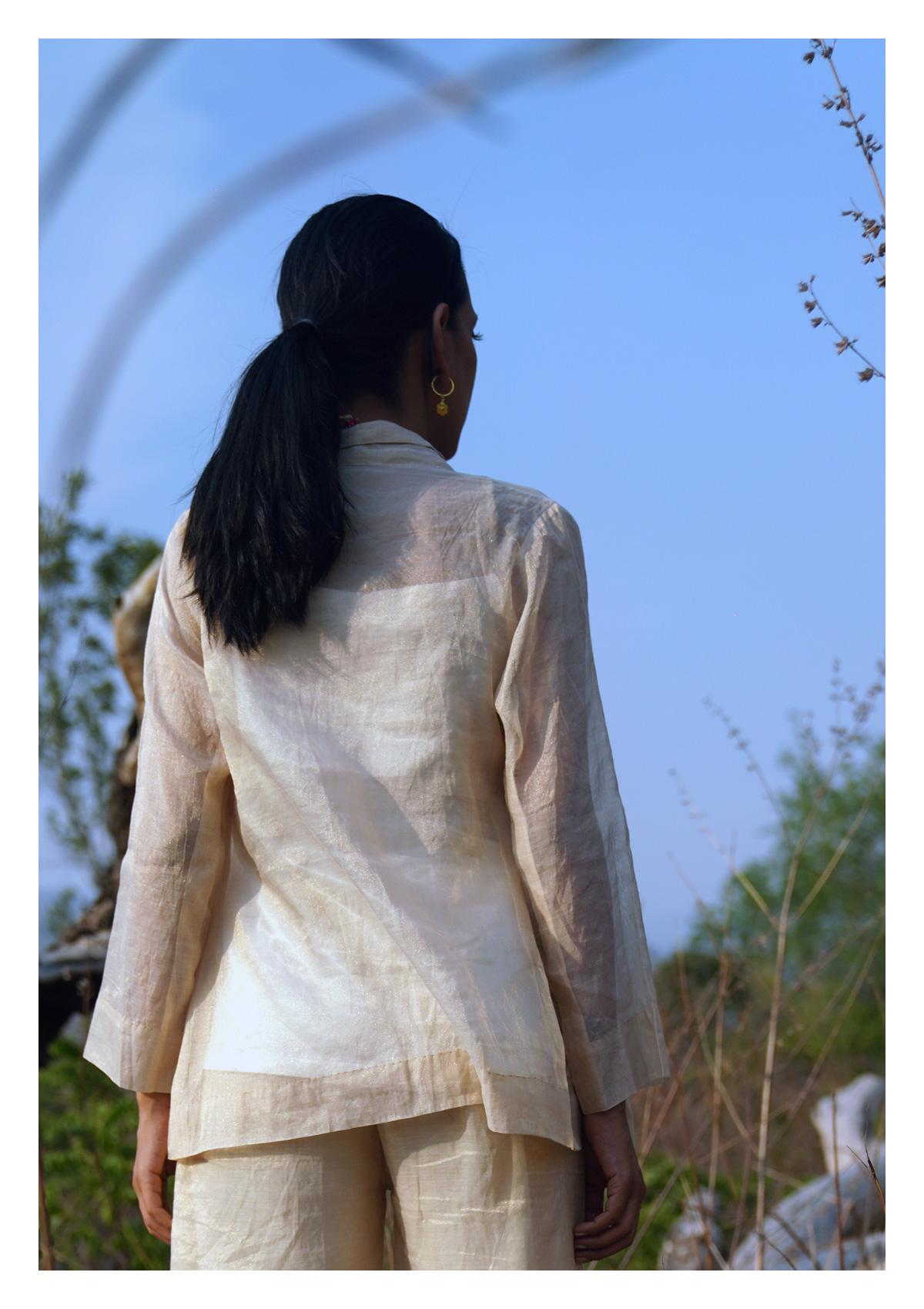 Carnation Ivory Gold Chanderi Jacket