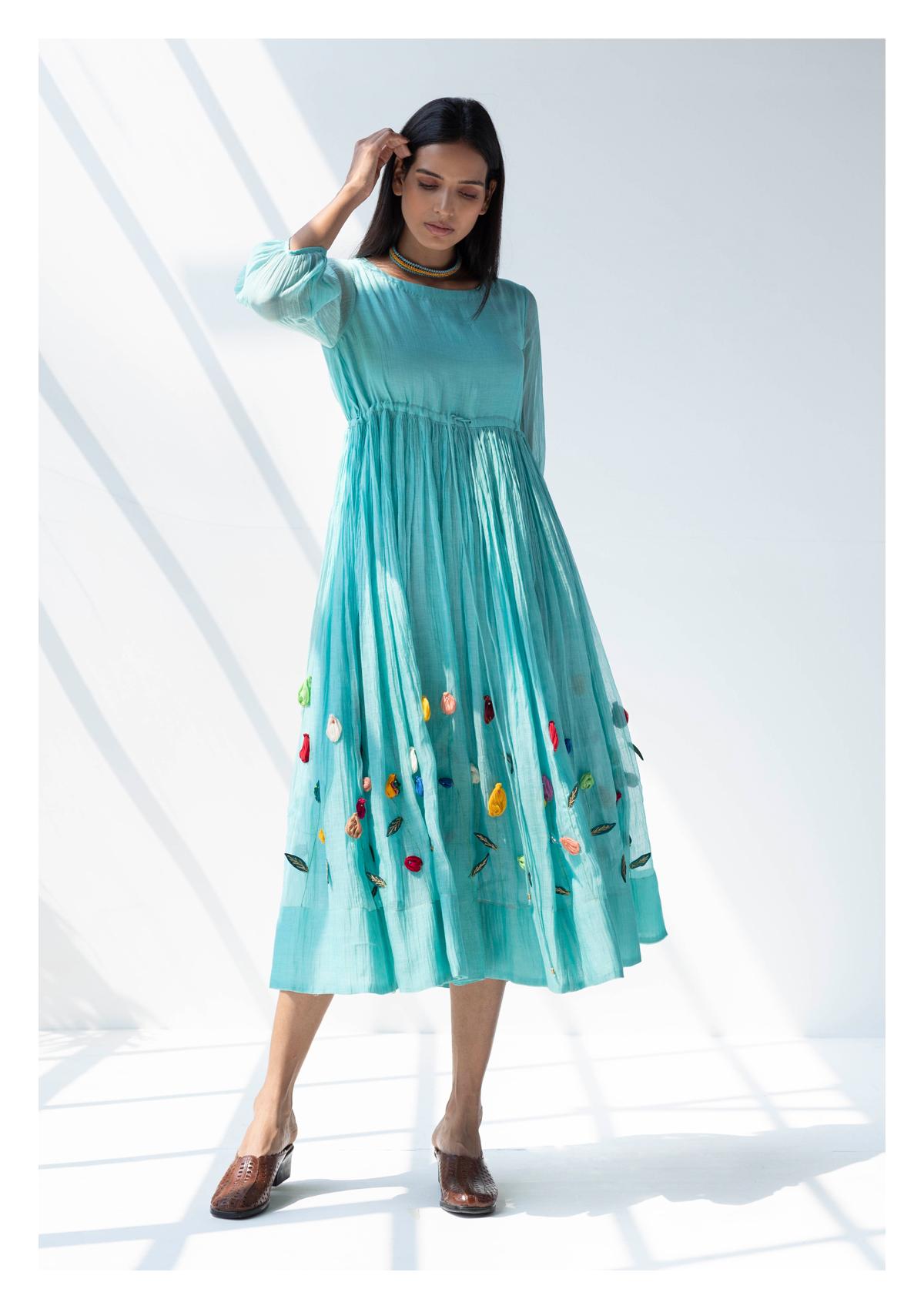 Mavi Blue Applique Chanderi Dress