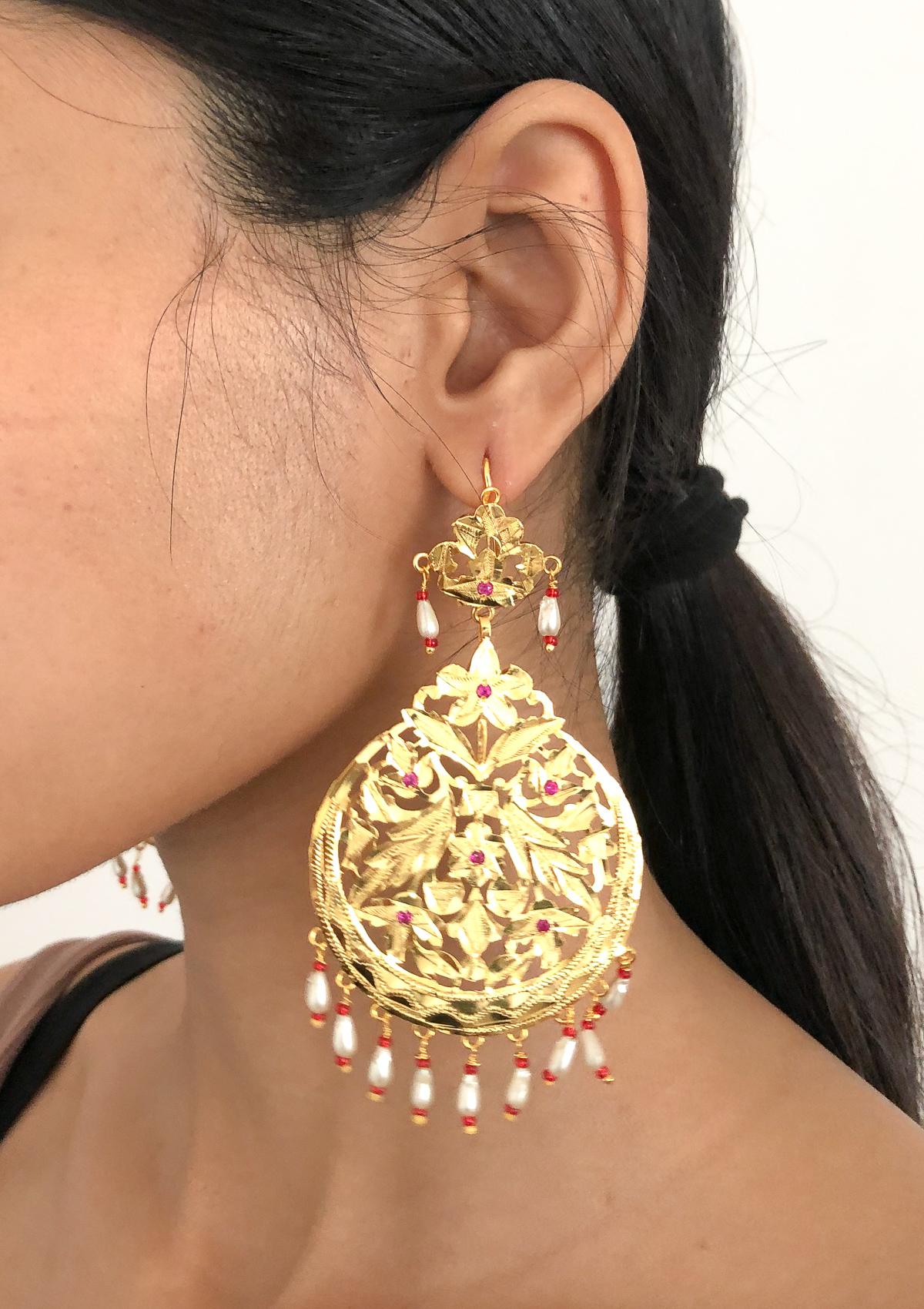 Naseera Pearls Gold Tone Silver Earrings