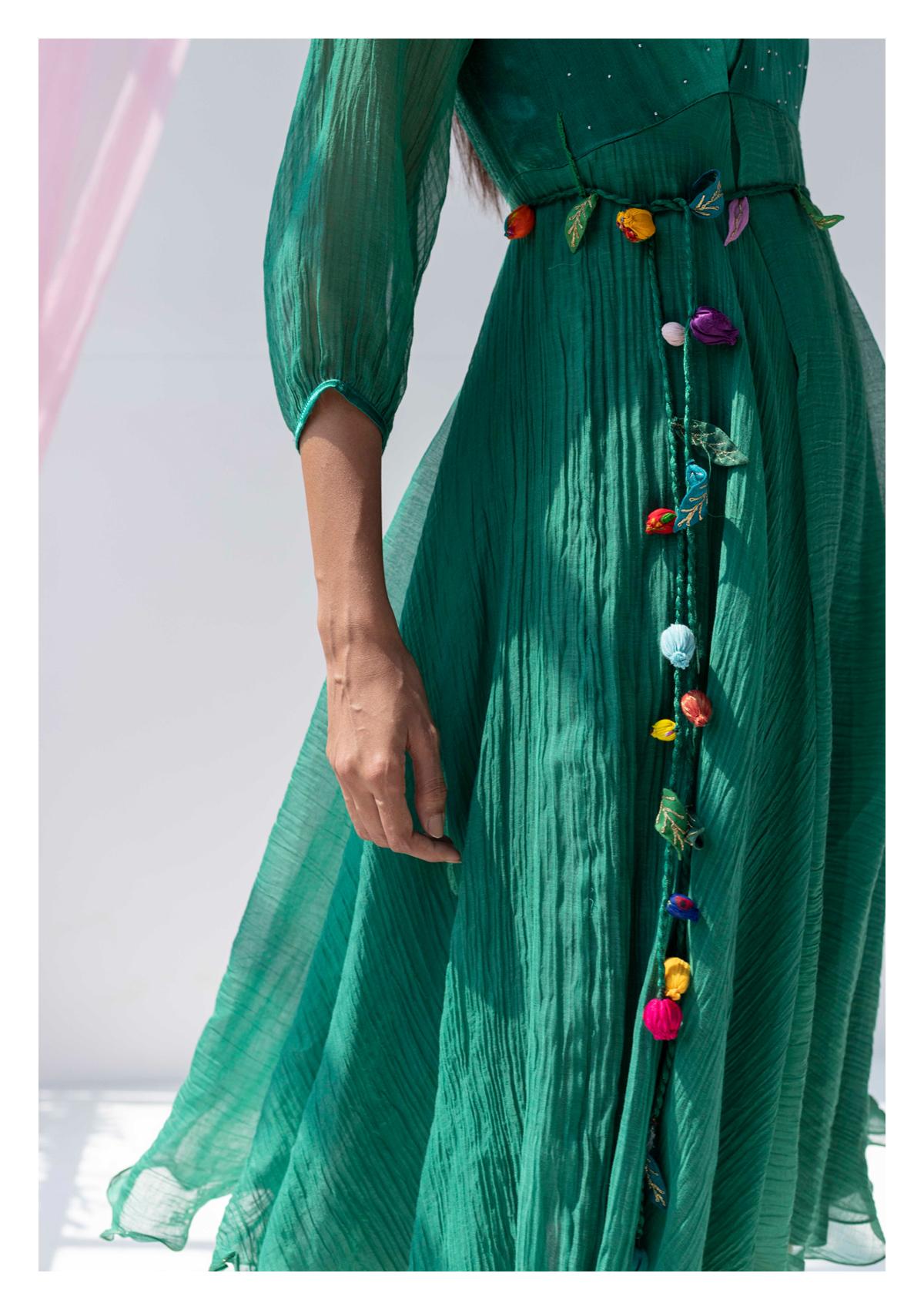 Zelena Green Chanderi Dress