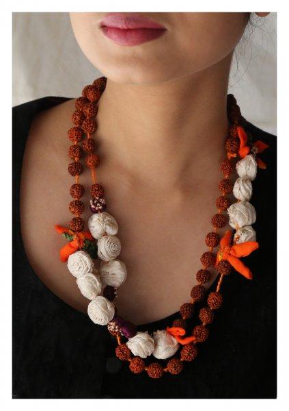 Sakhi Handmade Rudraksha Rose Necklace