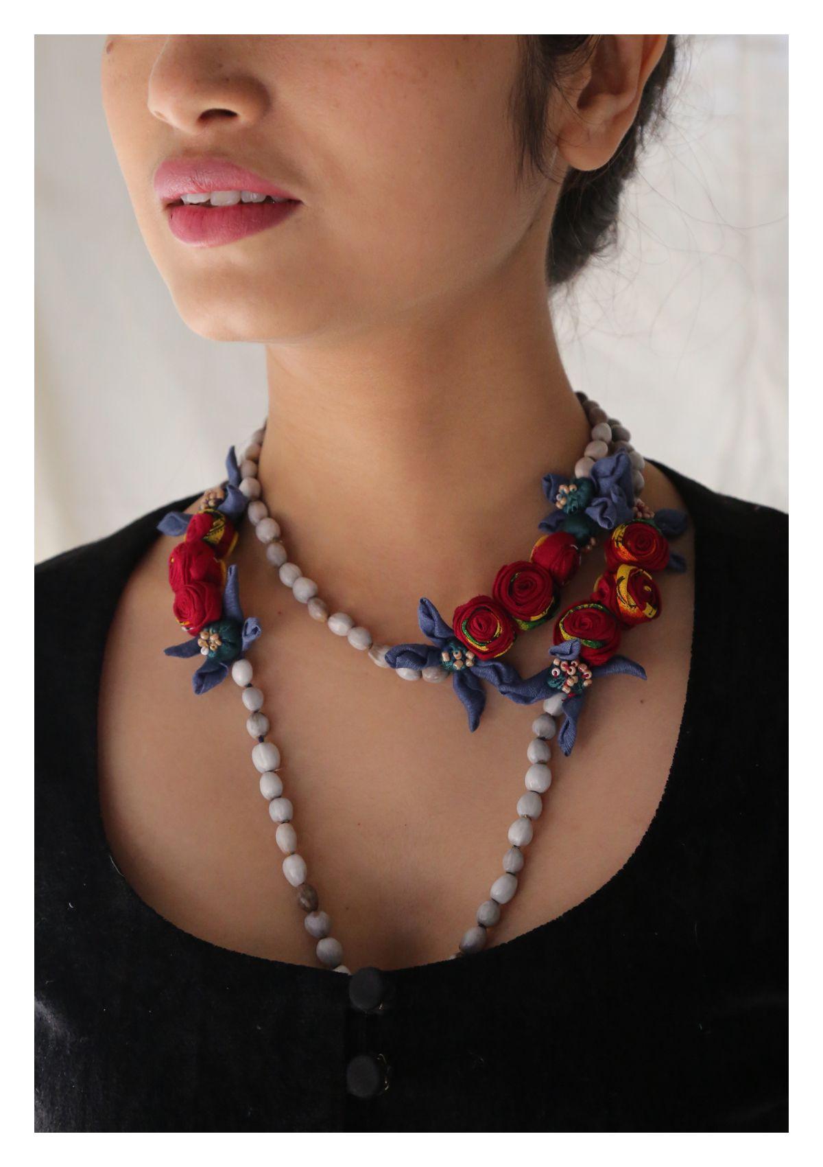 Dira Tulsi Bead Textile Necklace