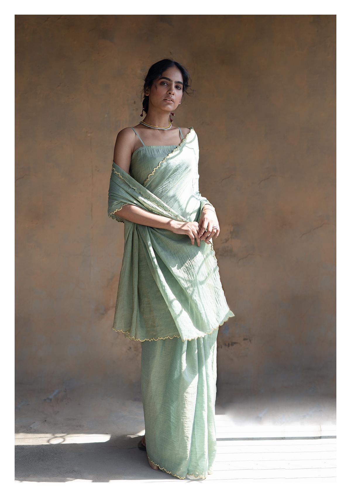 Sage Olive Tissue Chanderi Saree