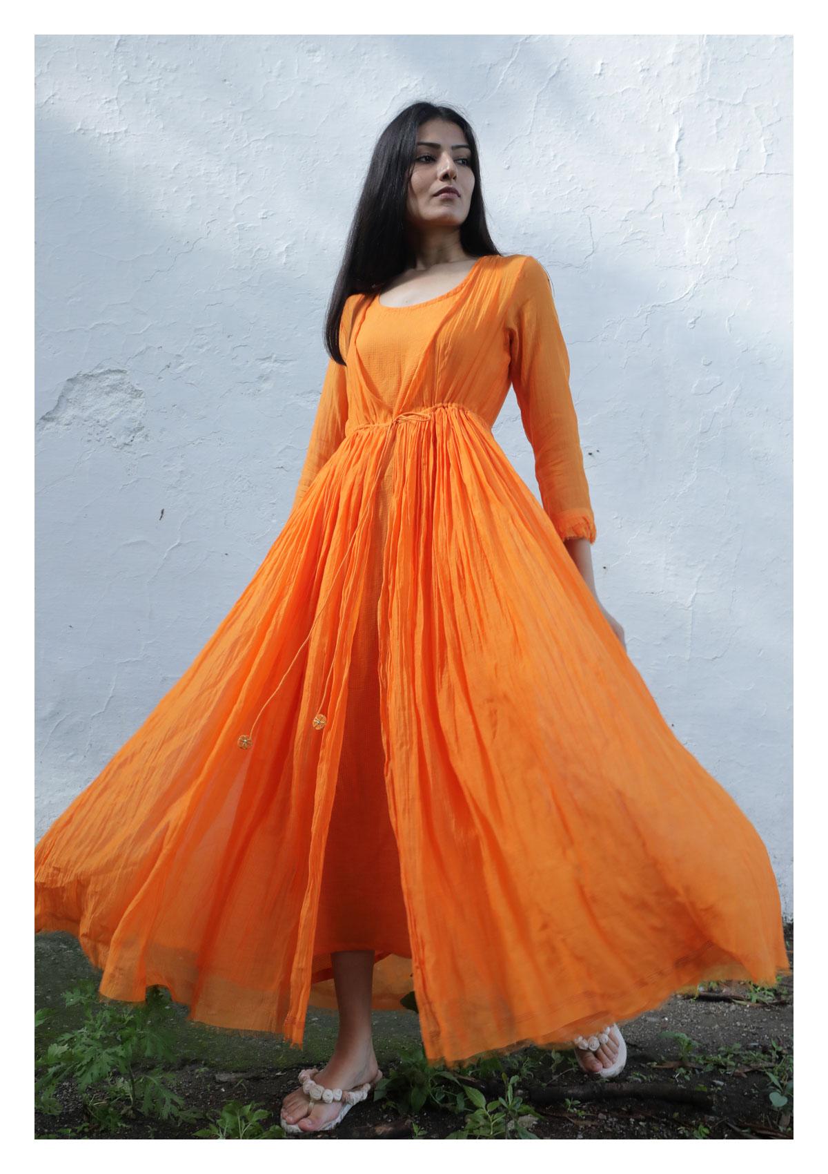 Poppy Tangerine Chanderi Maxi Dress