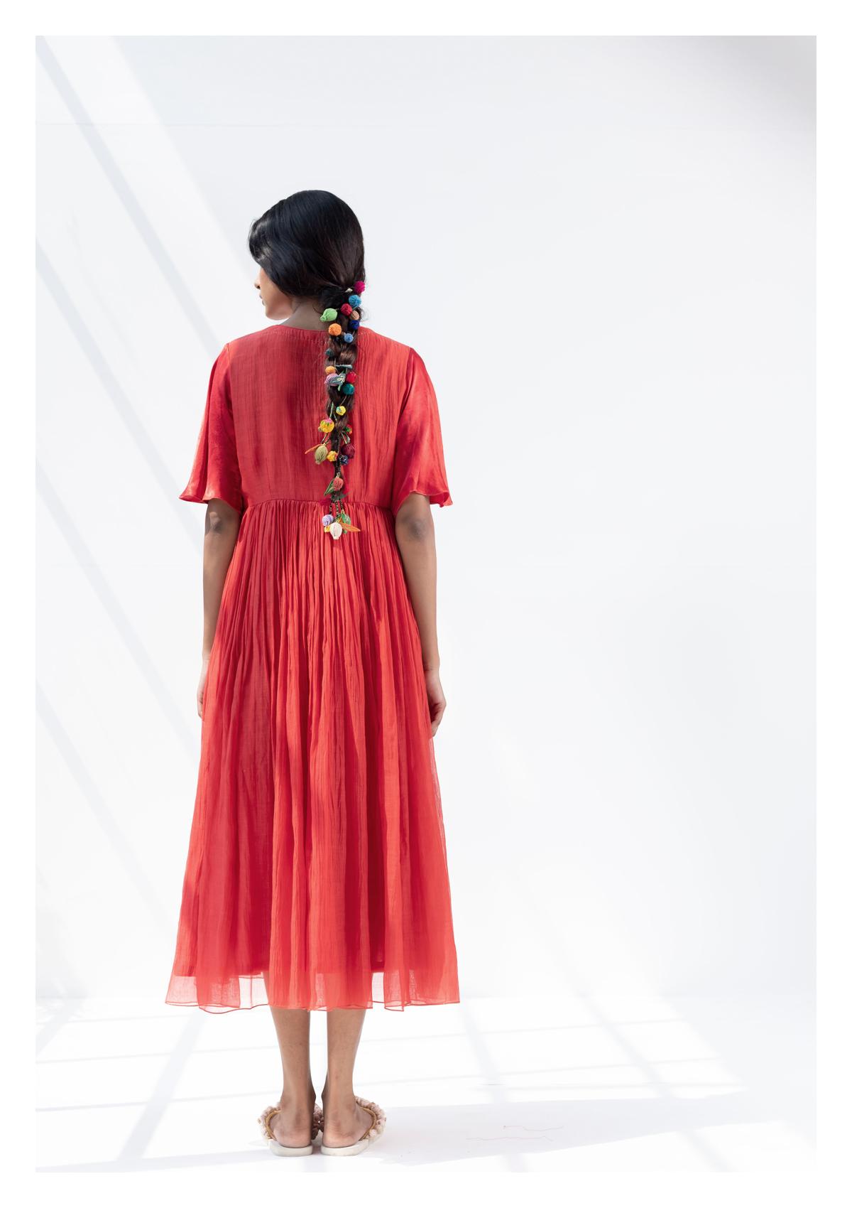 Anmar Red Chanderi Dress
