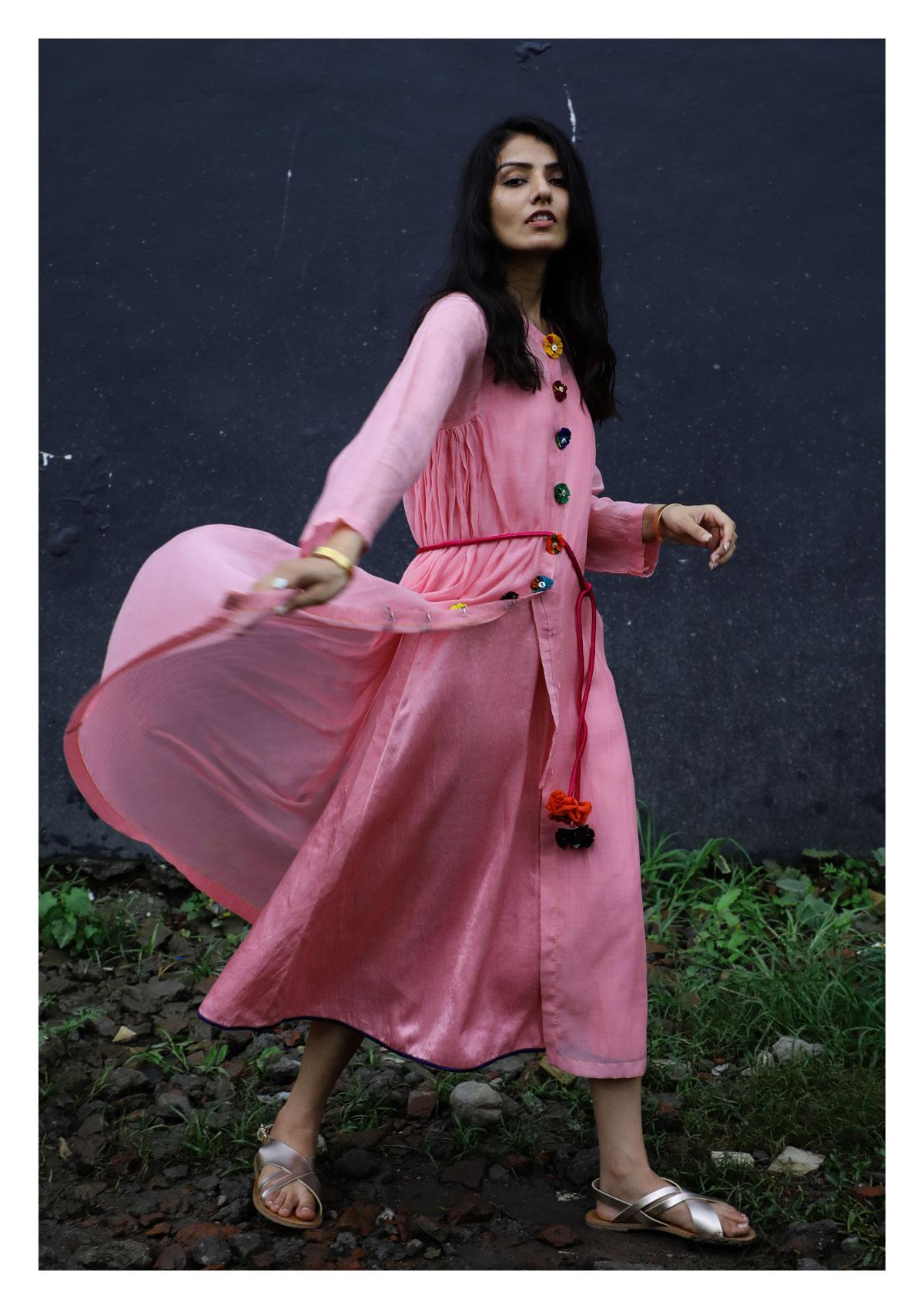 Scarlett Pink Chanderi Dress