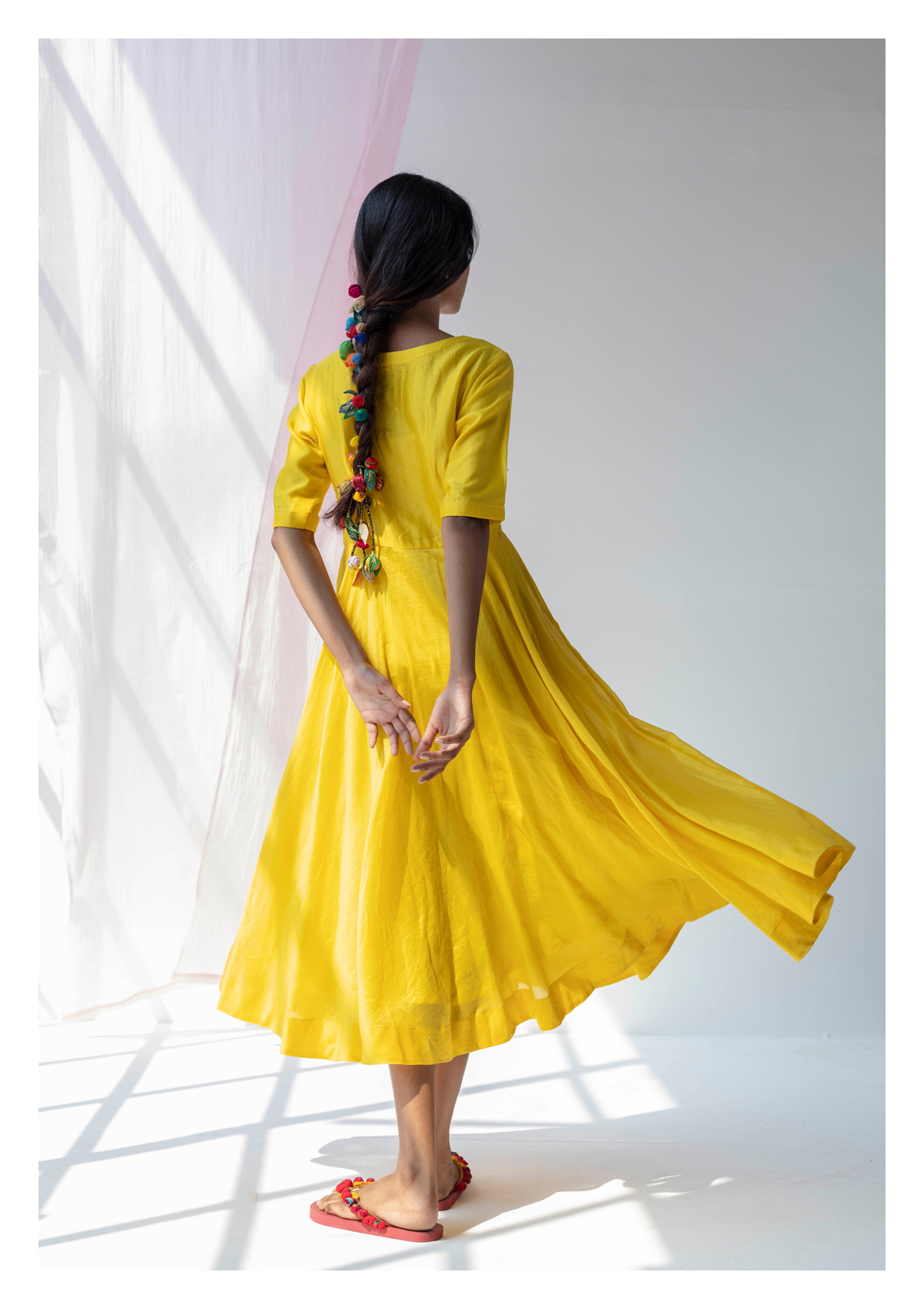 Gul Yellow Chanderi Dress