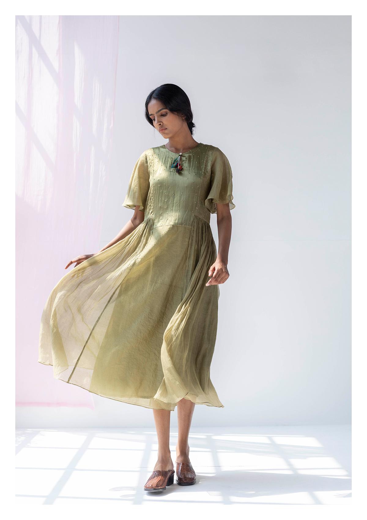 Maslina Olive Tissue Chanderi Dress