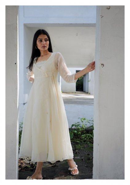 Paloma White Angrakha Chanderi Dress