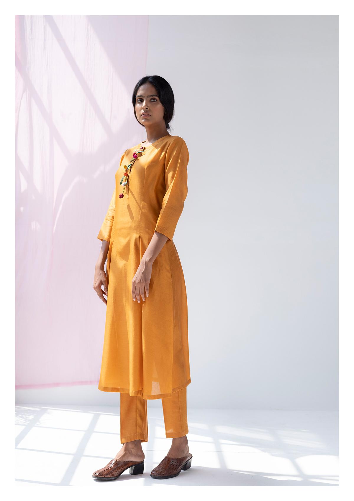 Mohari Mustard Kurta Pants & Stole Set