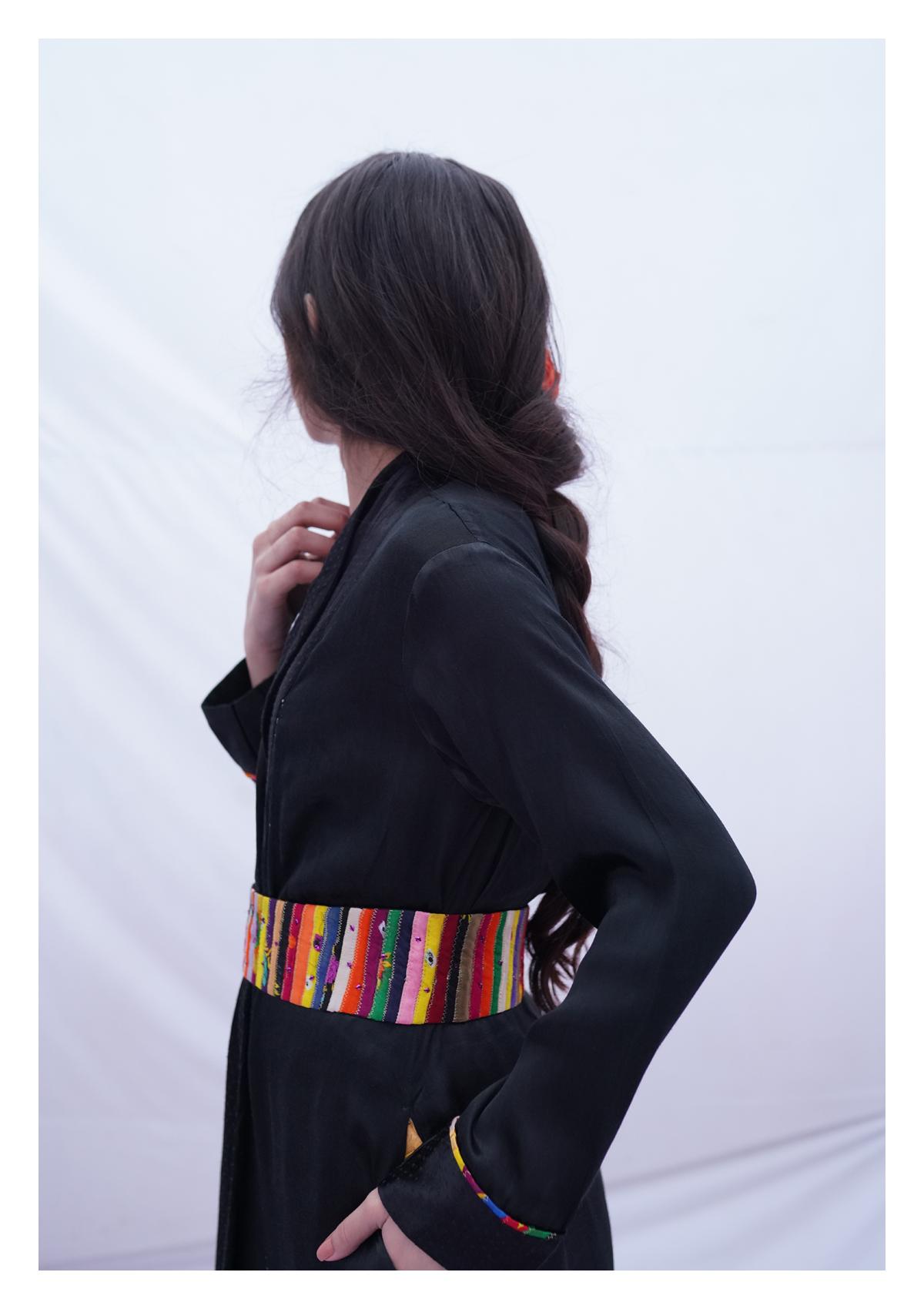 Vaydi Black Mashru Overlay Jacket