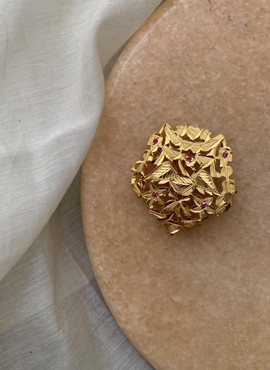 Jahaan Handmade Goldtone Silver Brooch
