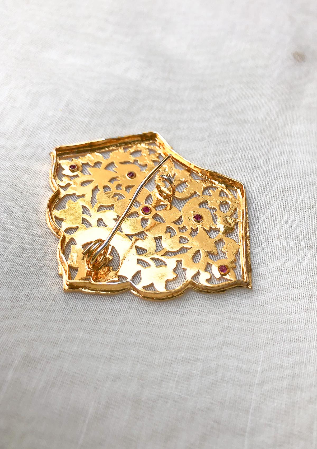 Sadhna Gold Tone Silver Brooch