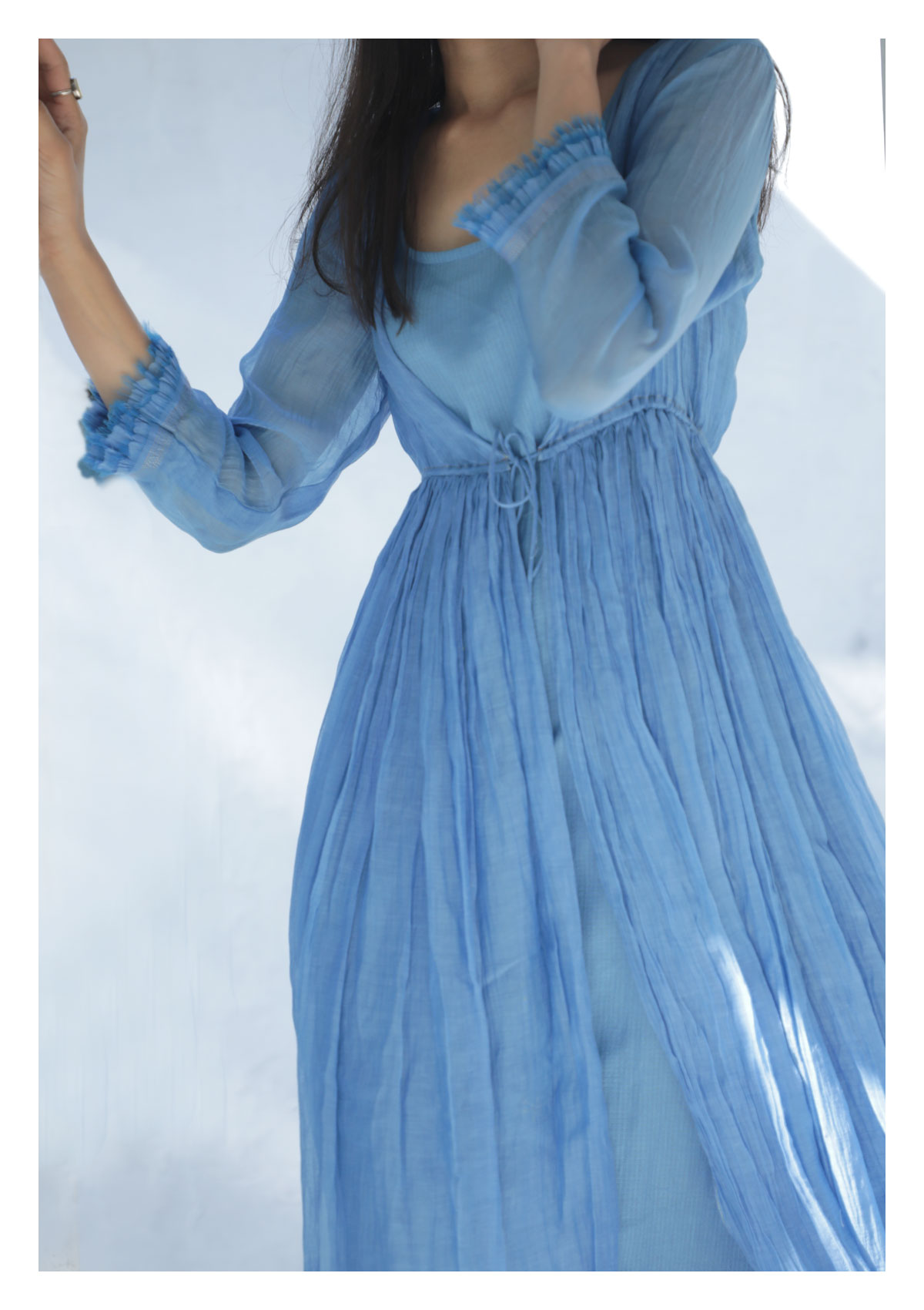 Iris Blue Chanderi Maxi  Dress