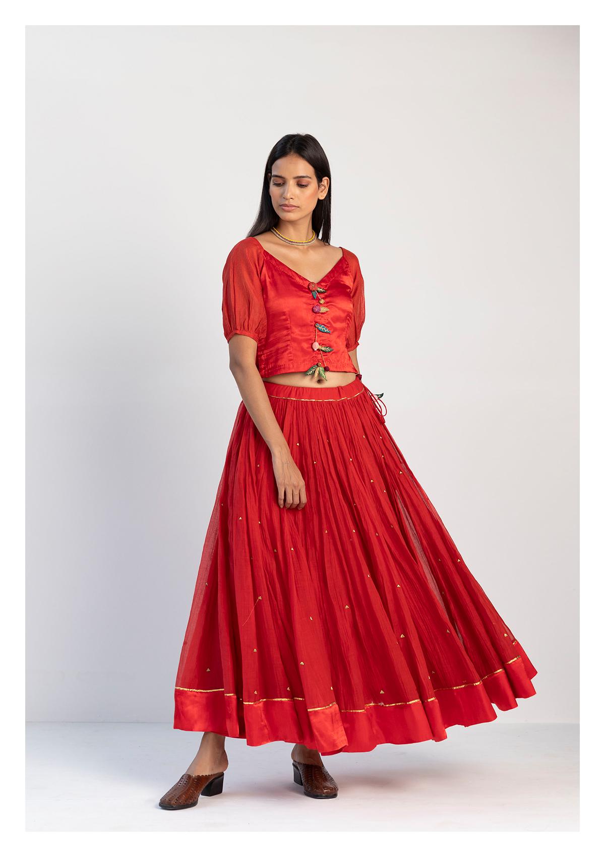 Lala Red Mashru Blouse