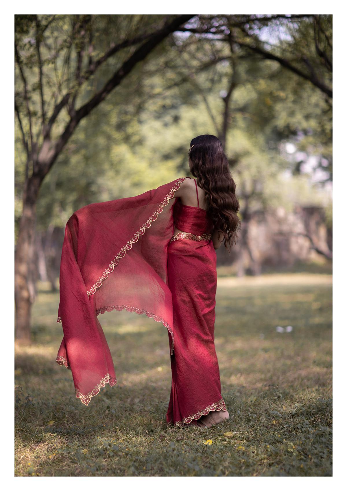 Sindhu Mahroon Tissue Chanderi Saree