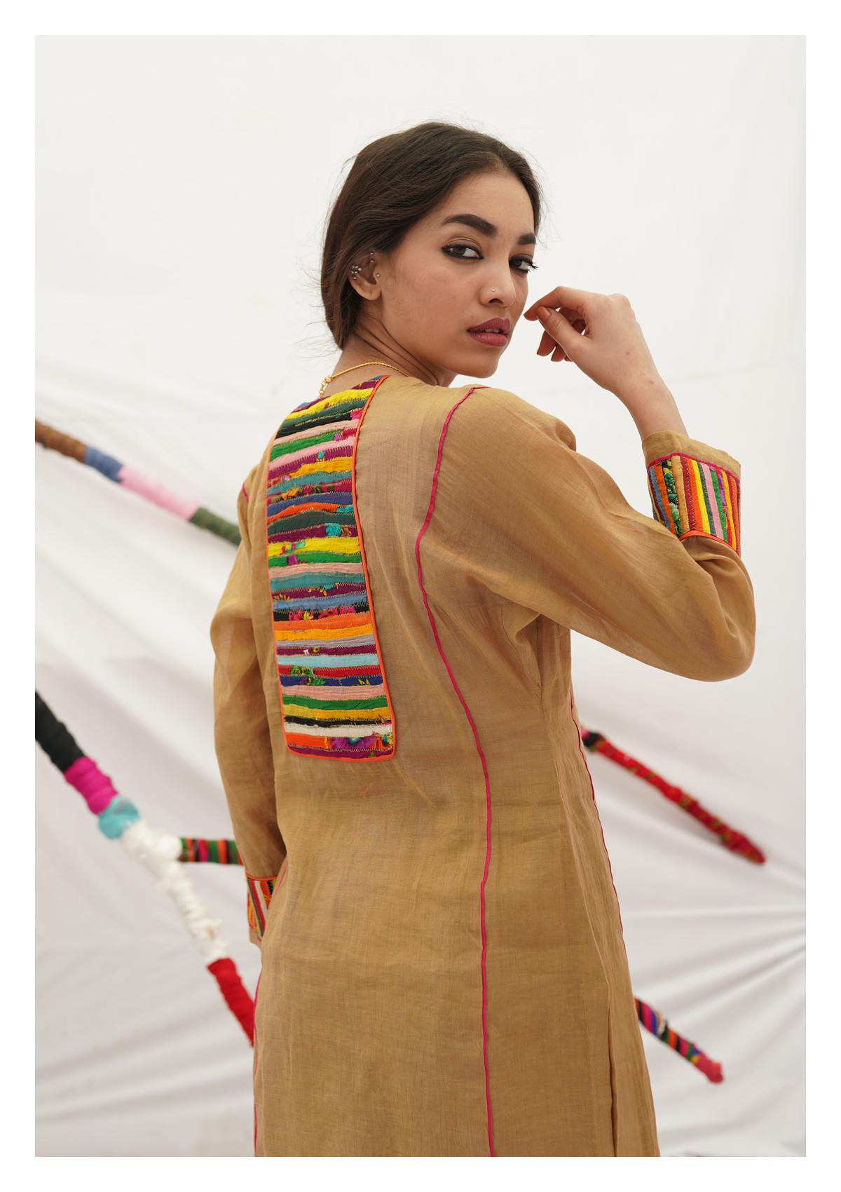 Tabariyo Camel Tissue Chanderi Kurta Pants Set