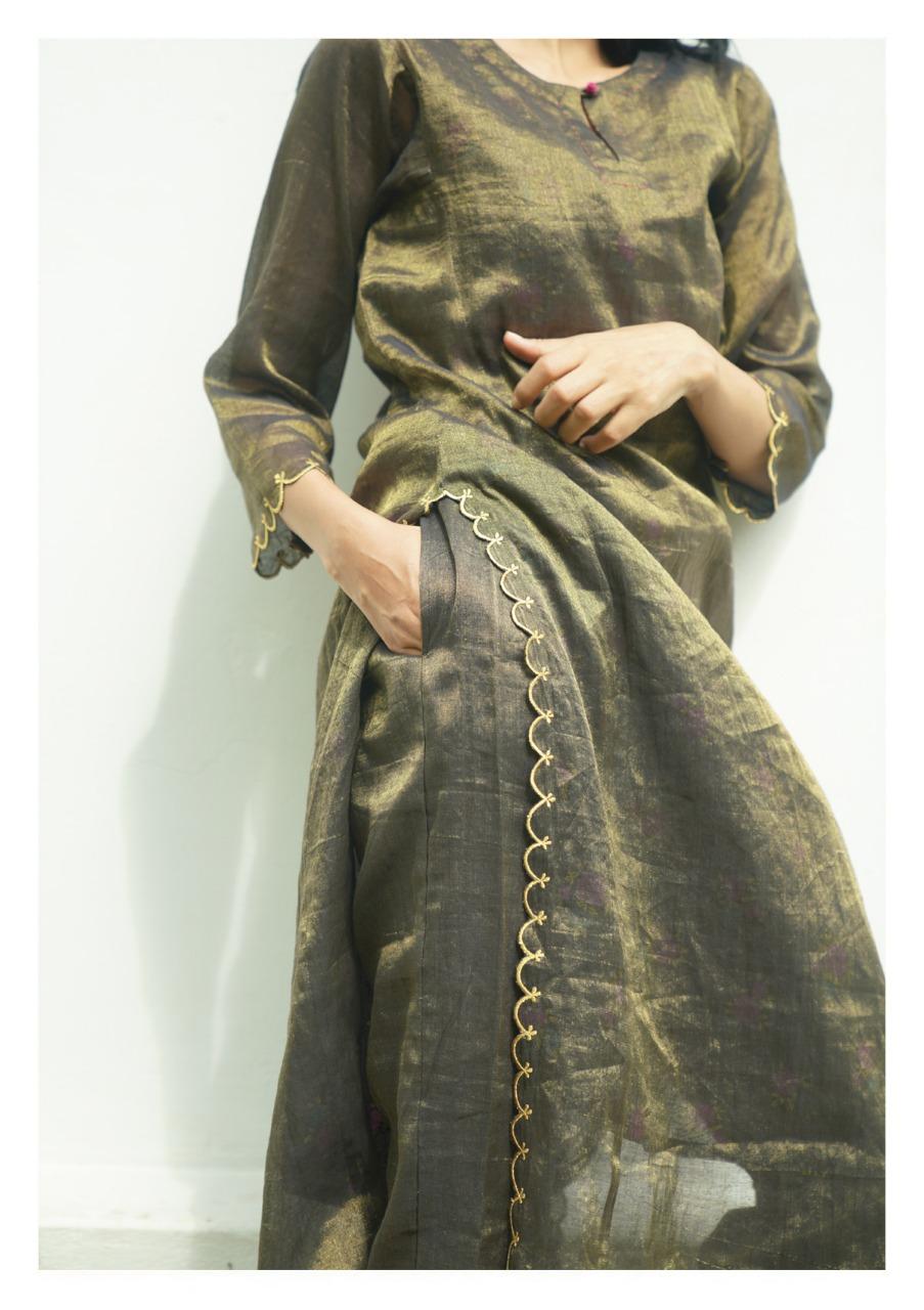 Shaama Tissue Chanderi Kurta Pants Set