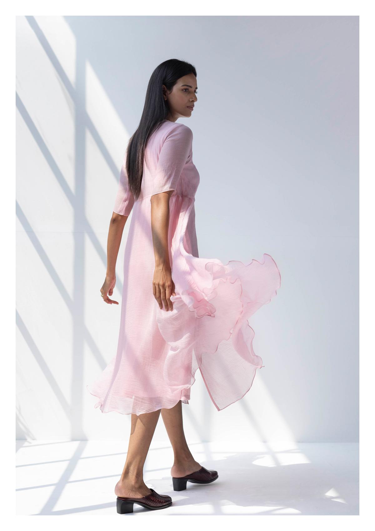 Arrosa Pink Chanderi Dress