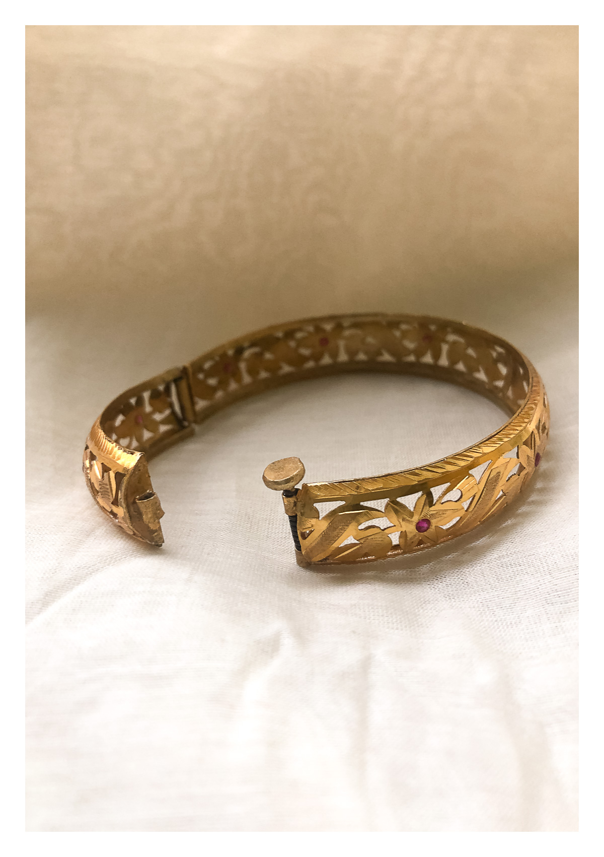 Krishna Gold Tone Silver Bangle