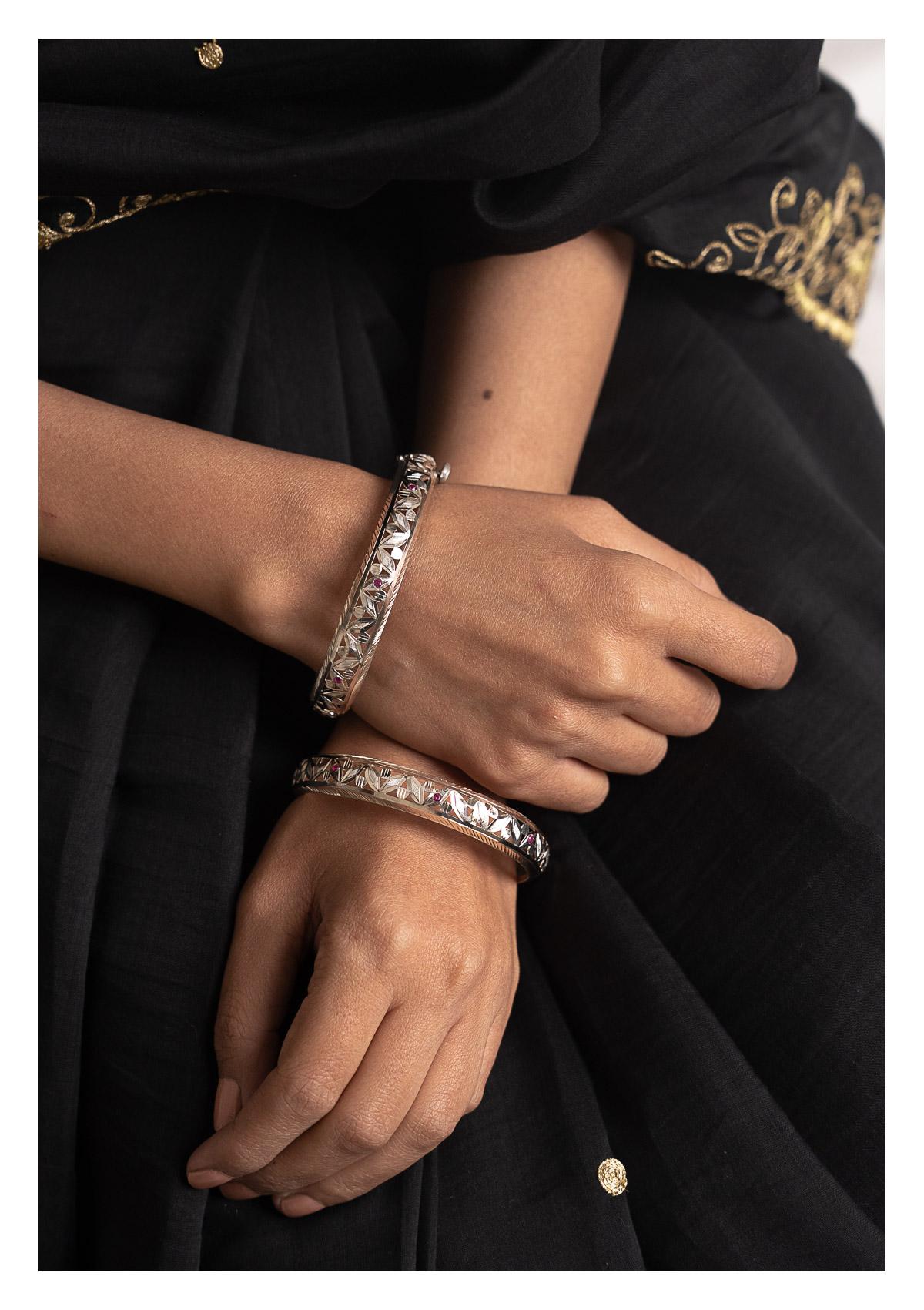 Krishna Silver Bangles - Set of 2