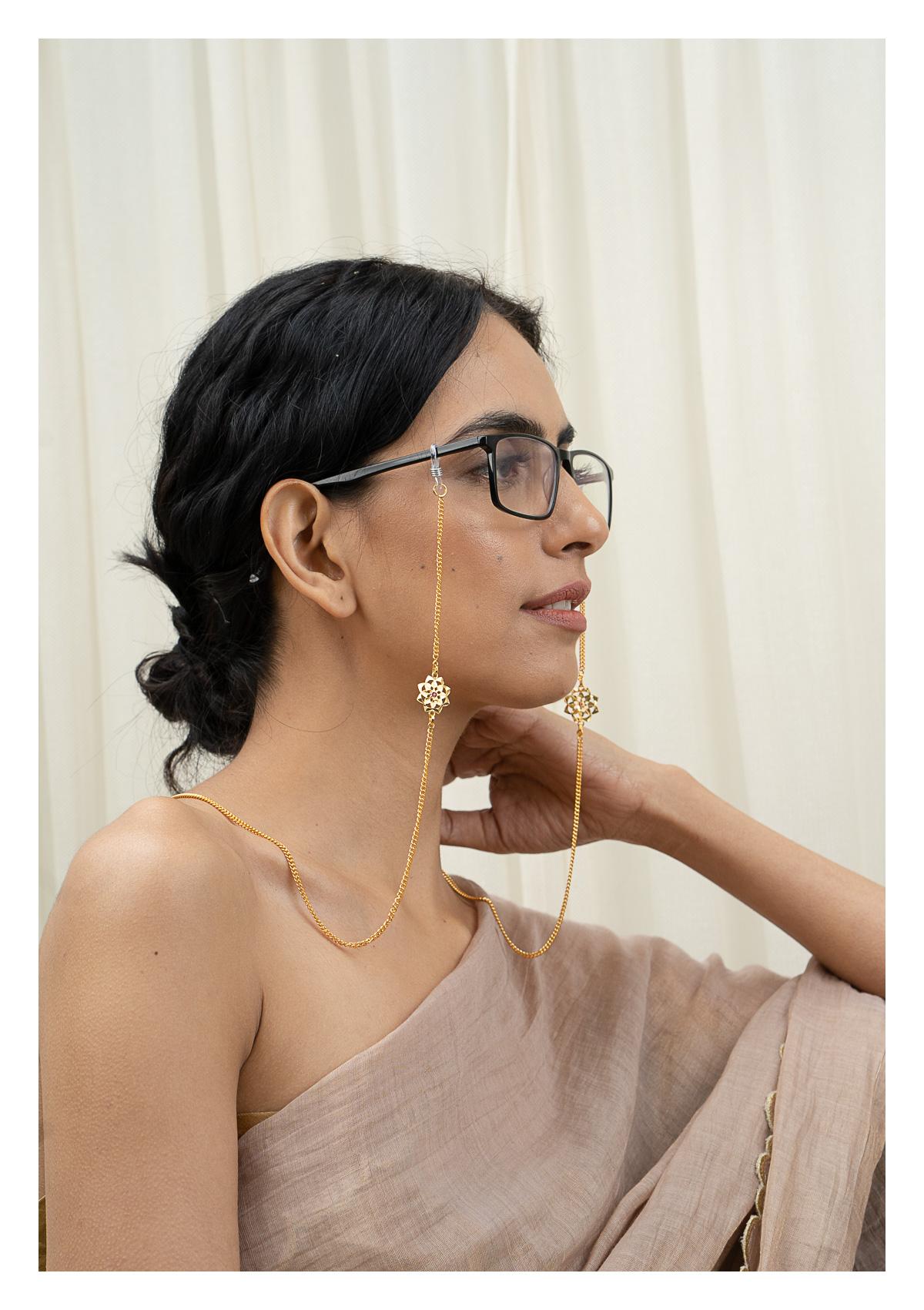 Sarmi Goldtone Silver Eyewear Chain