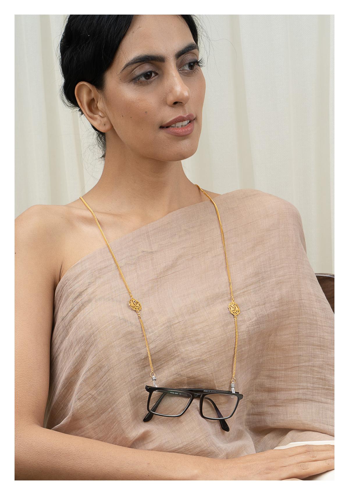 Aashni Handmade Goldtone Silver Eyewear Chain