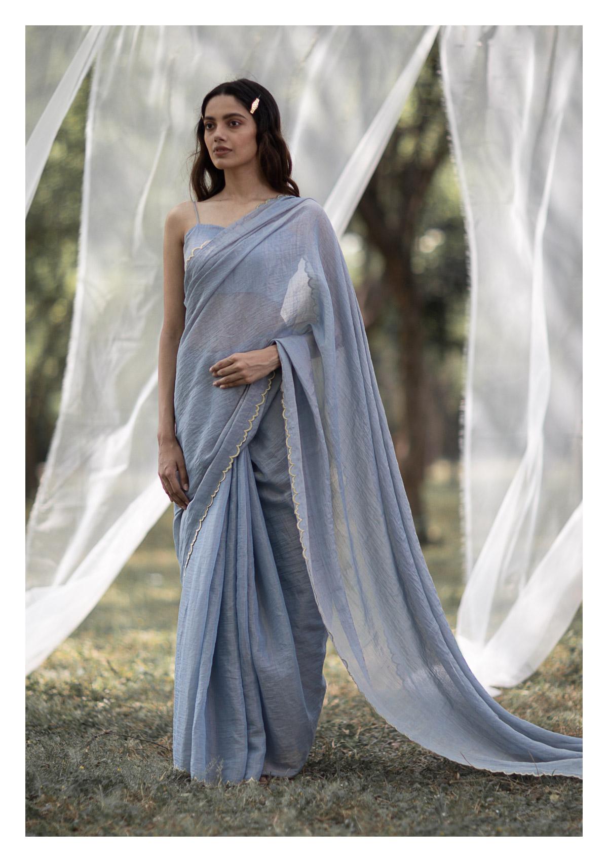 Ash Grey Tissue Chanderi Saree