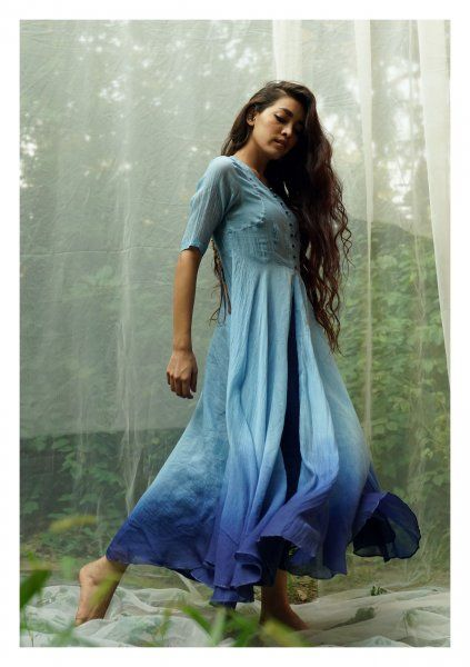 Bharangi Blue Chanderi Dress